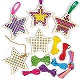 Baker Ross Kits Punto de Cruz de Madera Estrella (Pack de 5) - Ideales para Manualidades y Decoraciones Navideñas
