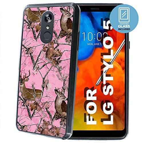NakedShield Black Thin Edge Bumper Case Compatible for LG Stylo 5,5v,Pink Deer Camouflage Print,Dual-Layer Guard Bumper,Glass Screen Protector Included,Designed in USA