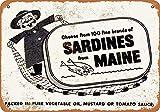 TSHOME Letrero de metal de Sardines From Maine Retro Vintage de aluminio para decoración de pared Shabby Chic 20,3 x 30,5 cm