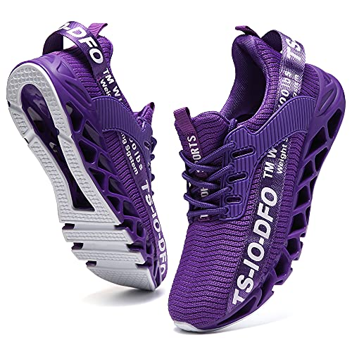 FRSHANIAH Sneakers for Men Slip On Casual Sport Running Shoes Athletic Non-Slip Jogging Tennis Walking Shoes Breathable Fashion Sneaker Gym Runner Trail Workout Shoes Purple Size 10.5
