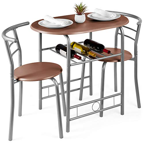 Best Choice Products 3-Piece Wooden Kitchen Dining Room Round Table and Chair Set w/Built-in Wine Rack, Espresso