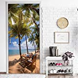Island Camping Holiday Door Aufkleber Wasserdichte Tapeten Diy Abnehmbare Wandbilder Selbstklebende Home Wallpaper Dekoration 90X200Cm