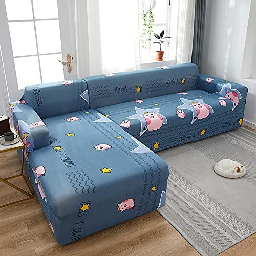 Funda Sofas 2 y 3 Plazas Animal De Dibujos Animados Rosa Fundas para Sofa con Diseño Universal,Cubre Sofa Ajustables,Fundas Sofa Elasticas,Funda de Sofa Chaise Longue,Protector Cubierta para Sofá