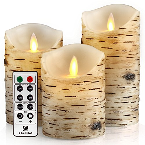 comenzar Flickering Candles, Candles Birch Set of 4 5' 6' Birch Bark Battery Candles Real Wax Pillar with Remote Timer
