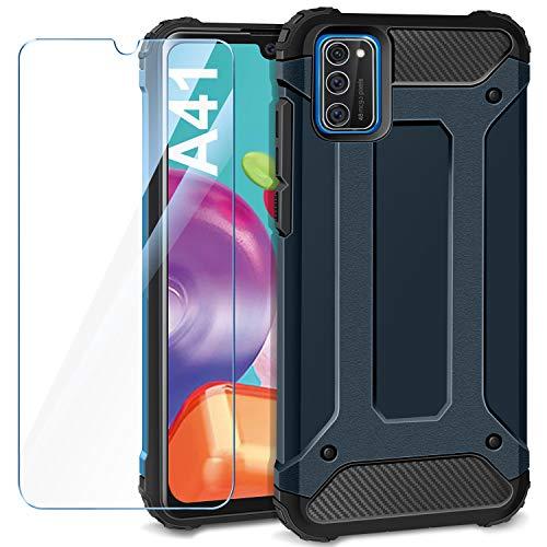 AROYI Handyhülle Kompatibel mit Samsung Galaxy A41 Hülle mit 1 Stück Panzerglas, Outdoor Handyhülle Tough Silikon TPU und PC Bumper Doppelschichter Schutz Schutzhülle, Dunkelblau