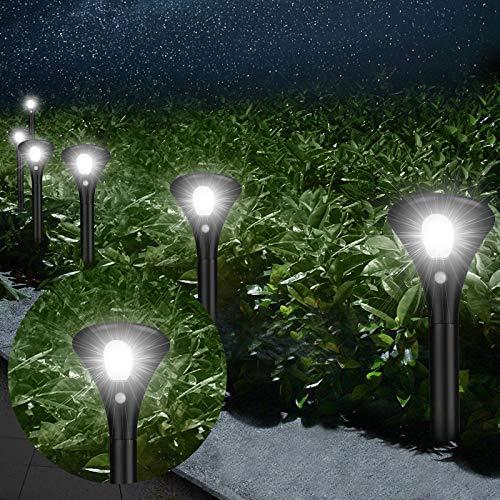 Kinglight - Lámpara solar para exterior de jardín, 6 unidades, iluminación solar exterior, LED, proyector luz solar impermeable IP65, detector de movimiento, jardín, decoración para garaje y camino