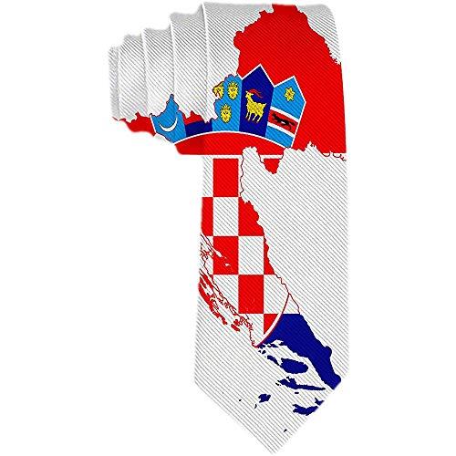 Herren Krawatte Kroatien Flagge und Karte Polyester Seidenkrawatte