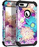 Hocase iPhone 8 Plus Case, iPhone 7 Plus Case, Heavy Duty Shockproof Protection Hard Plastic+Silicone Rubber Hybrid Protective Case for iPhone 7 Plus/iPhone 8 Plus - Colorful Lace Flowers
