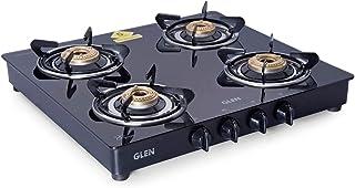 Glen 4 Burner Gas Stove with Brass Burner (CT4B55BLBB Cooktop, Black), Glass, Manual
