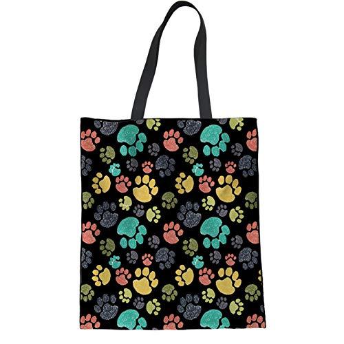 Coloranimal Bolso de lino con huella de perro negro, ligero, bolsa de gran capacidad para compras al aire libre, bolso lavable