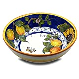 Large Ceramic Bowl for kitchen - Italian dinnerware pasta bowl - Yellow White Blue Lemon Sunflower serving tray - Hand painted Tuscan pottery bowls - Made in Italy - Ceramics salad tuscan soul platter