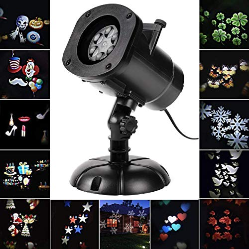 SALCAR Halloween deko Weihnachten LED Effektlicht, LED Projektor Lichter mit 12 Motiven, Innen/Außen IP65