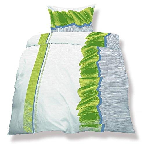 aqua-textil 0500065 Living 3-TLG. Bettwäsche 4-Jahreszeiten 200 x 220 cm Mikrofaser Bettbezug 3 teilig Dallas weiß grün grau