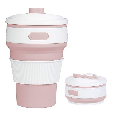 Tasse Pliable,Rocontrip Tasse de Voyage de Silicone de Anti-fuite Tasse de Café de Cadeau Pliable 350 ML 100% Qualité Alimentaire Sans BPA pour le Camping Randonnée