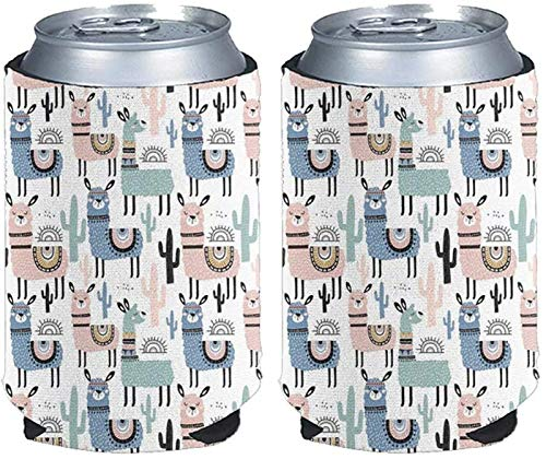 SEANATIVE Cute Cartoon Alpaca Can Coozie Beer Can Cooler Sleeves Soft Collapsible Insulated Neoprene Coozies Fits Skinny Drinks and Bottle, (Set of 2,Size L)