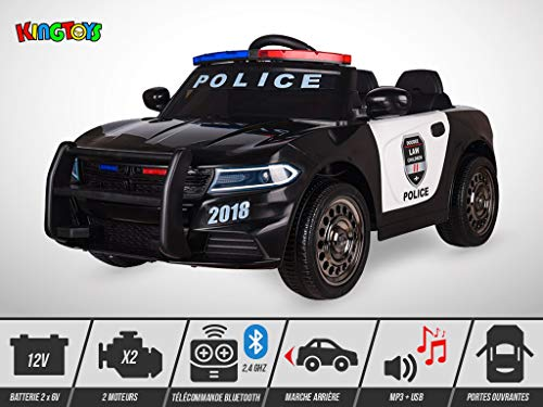 KINGTOYS Elektroauto für Kinder, Polizei, 60 W, Schwarz