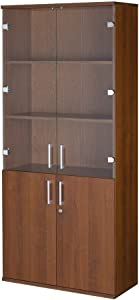 Mobile ufficio.Libreria 4 ante con chiave cm L80xH181xP35 tinta noce Artem 02