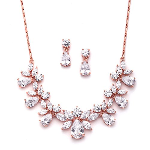 Mariell Rose Gold Multi-Shaped Cubic Zirconia Necklace& Earring Wedding Jewelry Set for Women and Brides