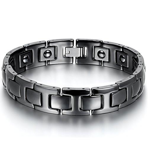 JewelryWe Schmuck Herren Magnet Armband, Keramik Porzellan, Klassiker I Rechteckig Link Gesundheit Magnetarmband Armreif, Schwarz
