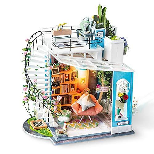 CYX-TOY Mini Kit de casa de Juguete para niños en Madera - Rompecabezas de Madera en 3D - Juego de Loft de Dora - con LED - Cubierta de Regalo de Bricolaje para niño de Home Home