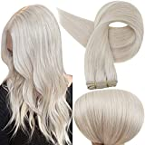 Full Shine Sew in Human Hair Extensions Bundle Weave in Ice Blonde Color 1000 Real Hair Remy Extensions Brazilian Hair Sewn in Weft Hair Extensions Straight 100 Gram
