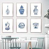 VVSUN Acuarela Chinoiserie Jarrones Impresiones Porcelana Ming Azul y Blanco Arte de China Pintura en Lienzo Arte Oriental Póster Arte de la Pared Decoración, 30x40cmx6Pcs,Sin Marco