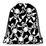 IUBBKI Kordelzug Rucksack Taschen Böser Schädel mit Knochen Warnschild Sport Aufbewahrungstasche Polyester für Fitnessstudio