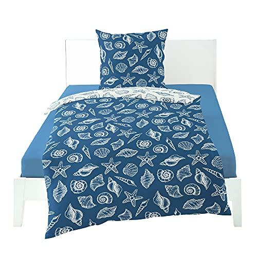 Bierbaum Bettwäsche Mako-Satin blau Größe 155x220 cm (80x80 cm)