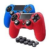 6amLifestyle Funda Protectora Antideslizante de Silicona para Mando PS4, Carcasa para Sony PS4 / PS4 Pro / PS4 Slim Controller (Rojo + Azul 2 Fundas de Mando PS4 + 10 Thumb Grips PS4)