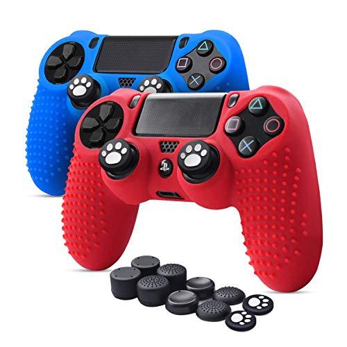 6amLifestyle Cover Skin Controller PS4 Dualshock in Silicone Antiscivolo, 2 Cover Controller PS4 (Rosso + Blu) + 10 Gommini per Le Levette Analogiche per Joystick PS4 / PS4 PRO / PS4 Slim