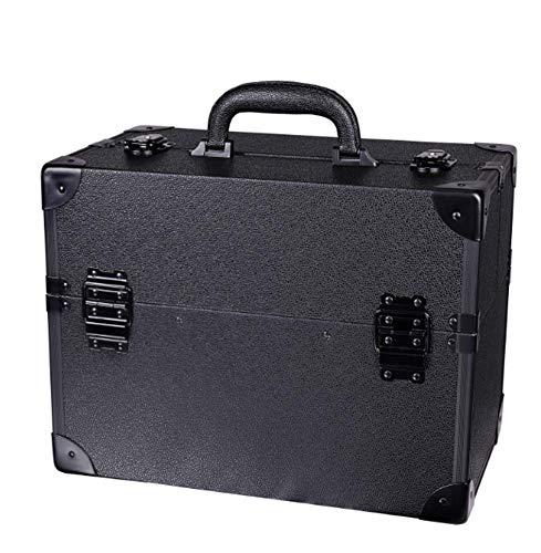 Mallette Maquillage Beauty Case avec cloison Valise Maquillage Coffret cosmétique Boîte à Maquillage, avec Bretelle et clé Coffrets Professionnelle -36x22x29cm,Black