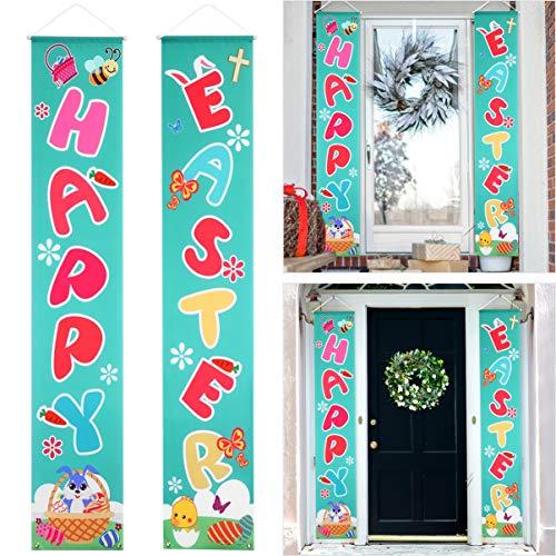 Amosfun Frohe Ostern Veranda Zeichen Ostern Tag Dekoration Dauerhaft Wasserdicht Tür Banner Party Kaninchen Muster Foto Requisiten Wand Ornament