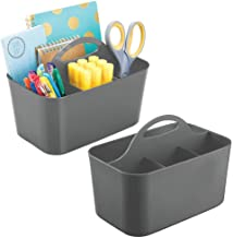 mDesign Plastic Office Storage Organizer Caddy Tote with Handle for Cabinet, Countertop, Desk, Workspace - Holds Erasable Pens, Colored Pencils, Washi Tape, Notebook - Small, 2 Pack - Charcoal Gray