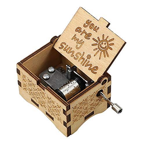 wavvter Spieluhr Vintage Handkurbel Gravierte Spieluhr Geschenk für Mutter, Tochter, Enkelin (You Are My Sunshine)