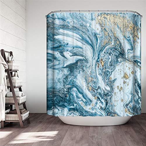 Fansu Duschvorhang Wasserdicht Anti-Schimmel Anti-Bakteriell, 3D Marmor Drucken 100prozent Polyester Bad Vorhang für Badzimmer mit C-Form Kunststoff Haken (Blau,90x180cm)