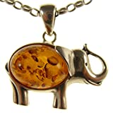 "BALTIC AMBER AND STERLING SILVER 925 ELEPHANT PENDANT NECKLACE - 14 16 18 20 22 24 26 28 30 32 34"" 1mm ITALIAN SNAKE CHAIN"
