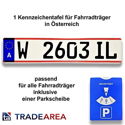 TA TradeArea 1 kentekenplaat, kentekenplaat voor fietsendragers in Oostenrijk, reflecterend met de gewenste inscriptie