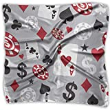 Las mujeres de la Moda Suave Plaza de Poker Card Casino Kerchief Bufanda Satén de Seda de Gasa Cabeza Cuello Multiuso de Poliéster Bufandas