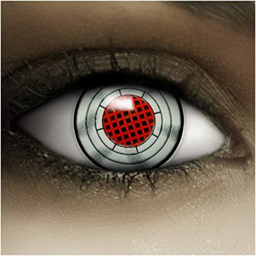 Farbige Kontaktlinsen ohne Stärke Terminator + Kunstblut Kapseln + Kontaktlinsenbehälter, weich ohne Sehstaerke in grau und rot, 1 Paar Linsen (2 Stück)