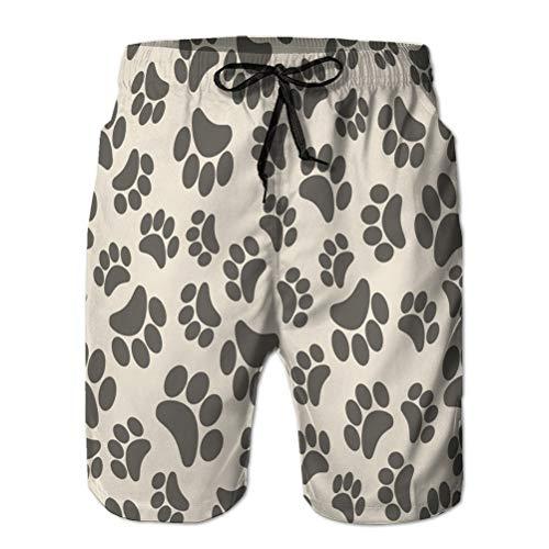 Pantalones Cortos de Playa de impresión para Hombre, bañador, Secado rápido, Huellas de Animales de Fondo