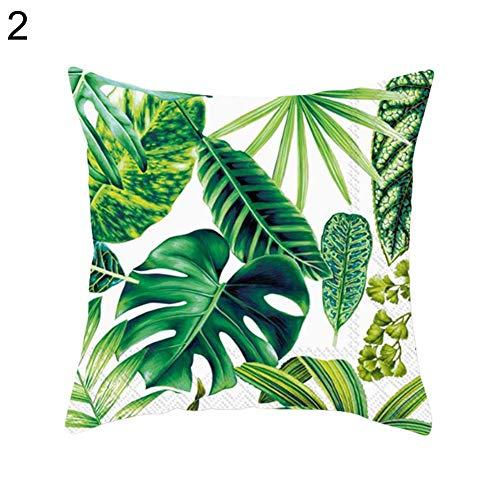 Funda de cojín con diseño de hojas de plantas tropicales para sofá, cama, coche, cafetería, oficina, mantén la almohada limpia, adecuada para sofás, camas, oficinas, cafés, 16#, talla única