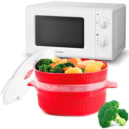 MovilCom - Olla a Vapor 2 Niveles Microvap con Tapa para cocinar al Vapor en microondas| Accesorios Cocina | 4L Rojo