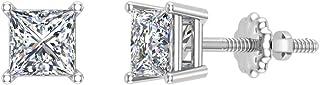 Orecchini a bottone con diamanti a taglio princess, oro 14 carati (I, I1)
