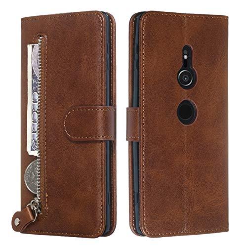 YINCANG Capa para Sony Xperia XZ3, couro PU macio TPU fecho magnético zíper carteira porta-cartão suporte capa protetora para Sony Xperia XZ3 6 polegadas marrom
