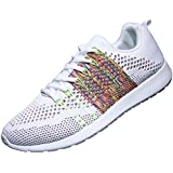 WELMEE Men's Knit Breathable Casual Sneakers Lightweight Athletic Tennis Walking Running Shoes, White, 10 M US