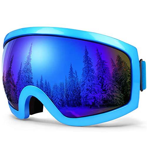 BFULL Skibrille Für Damen und Herren Kids Brillenträger Skibrille 100% OTG UV400 Anti-Fog UV-Schutz Skibrillen Snowboard Skibrille Schutz Ski Goggles (small Gray-revo Blue Lens VLT 10.5%)