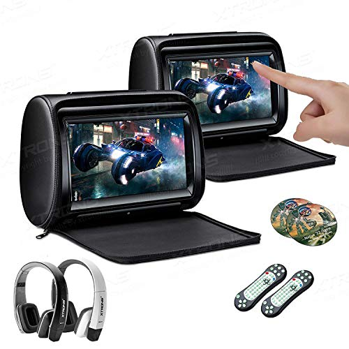 XTRONS 2 x 9 Inch Pair Car Headrest DVD Player HD Digital Adjustable Touch Screen 1080P Video Auto Games HDMI New Version IR Headphones Included(Black&White)