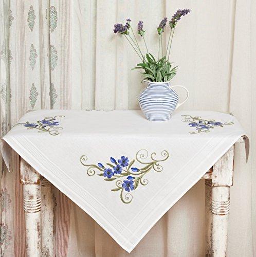 Kamaca Kit de punto de cruz para mantel (80 x 80 cm, 100% algodón), diseño de flores, color azul