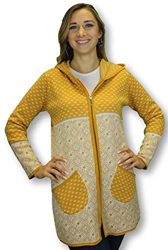 Kimmy Jeans Damen Strickjacke Kellerfalte Jacke (Curry, 3XL)