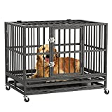 RULI Heavy Duty Dog Cage, 36'' Luxury Dog Crate and Kennels for Large Dogs Indoor Outdoor with Double Doors, Locks and Lockable Wheels, Black